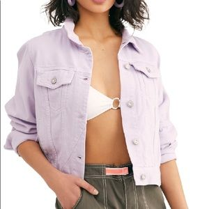 Free People Rumors Denim Jacket in Lilac XS NWT